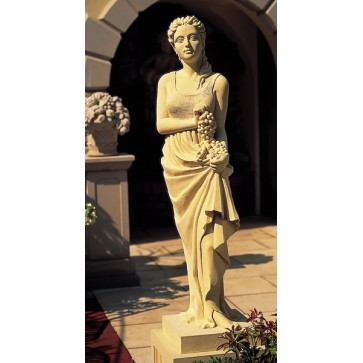 Cast stone statue on pedestal - Autumn