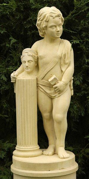 Cast stone statue on pedestal - Sculpture