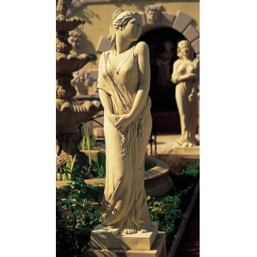 Cast stone statue on pedestal - Spring