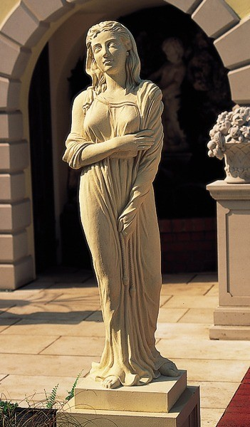 Cast stone statue on pedestal - Winter