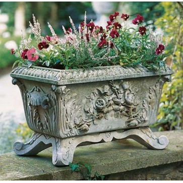 Cast stone Victorian style trough planter - Portland