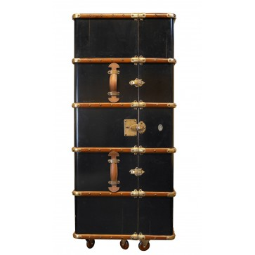 cherry and birch wood black trunk bar unit inspired by Victorian luggage