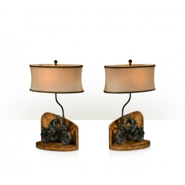 Chestnut burl table lamps - Pair