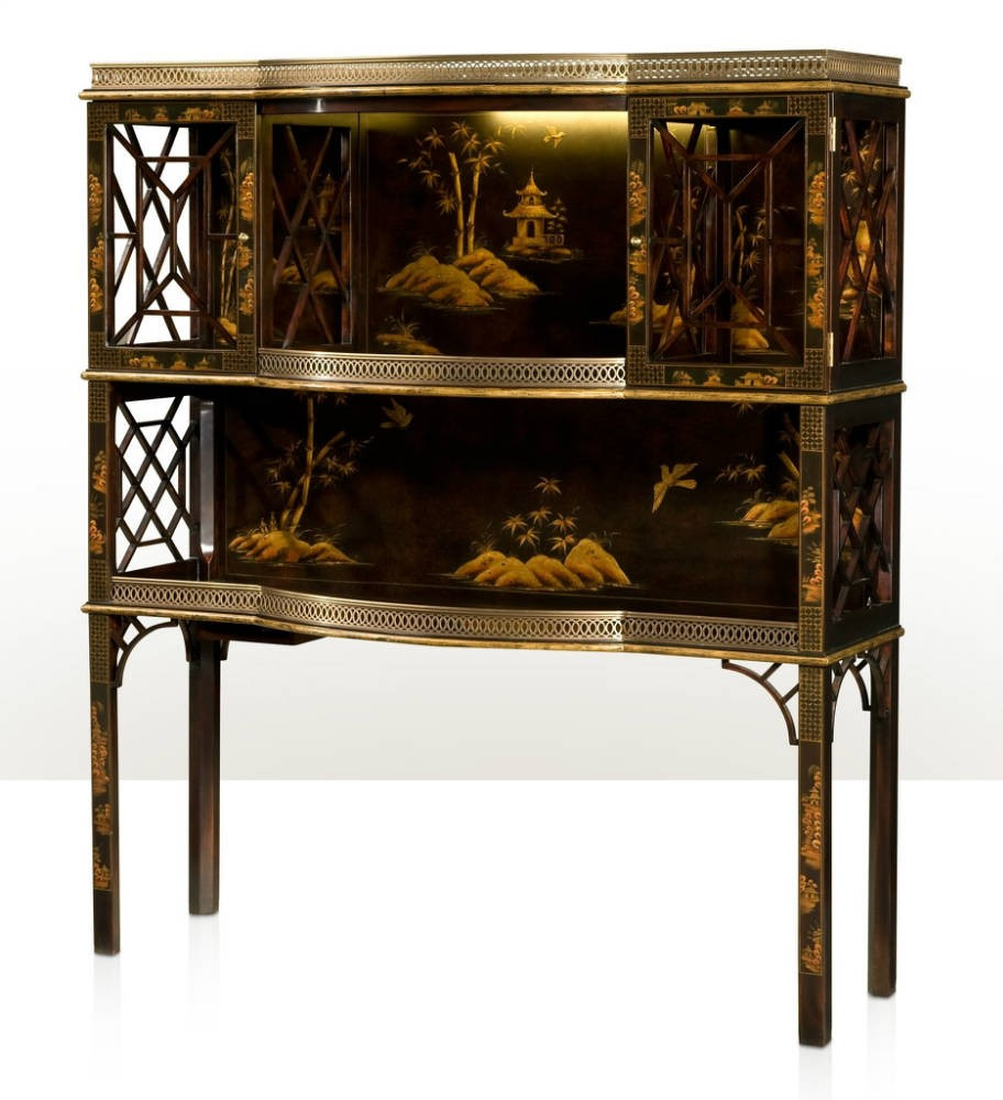 Chocolate Chinoiserie bar or display cabinet