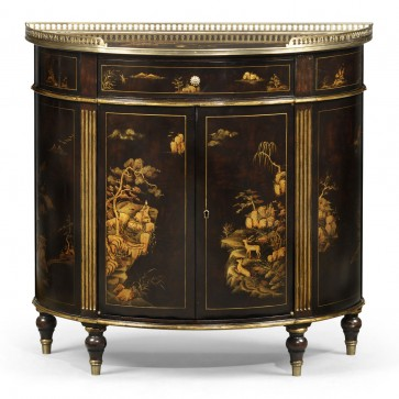 Chocolate Chinoiserie side cabinet