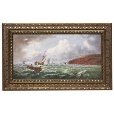Choppy coast framed oil painting