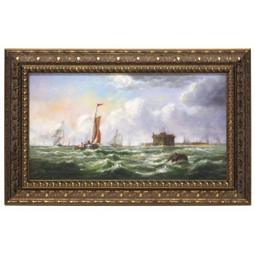 Choppy sea with barrel framed oil painting