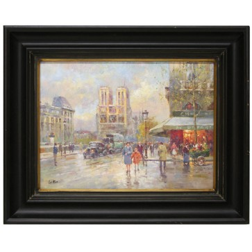 City scene oil painting