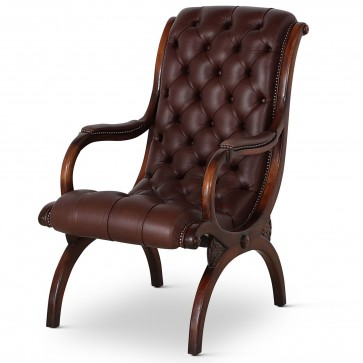 Classic slipper arm chair in chocolate brown leather