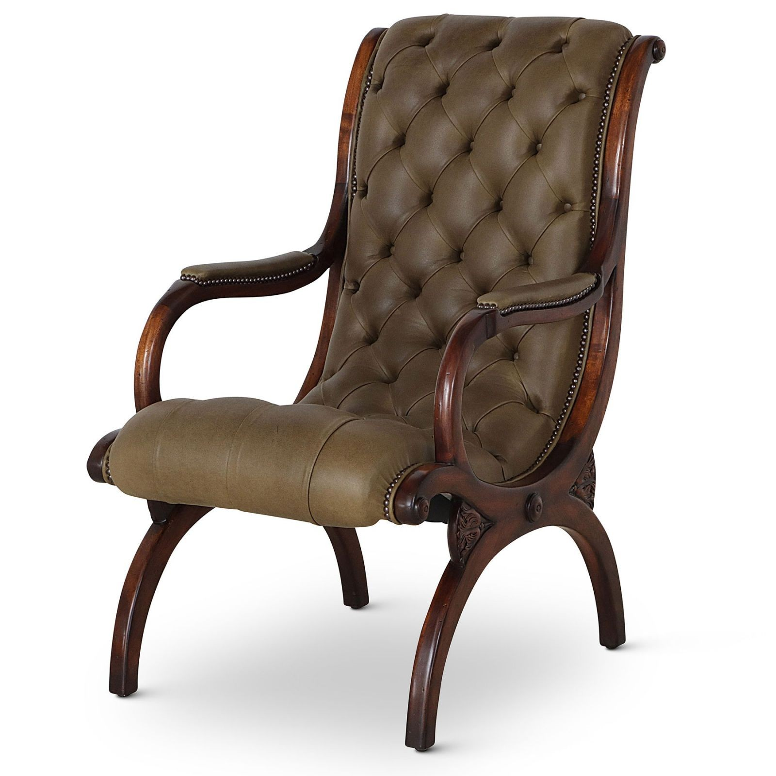 Classic slipper arm chair in olive green leather