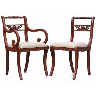 Cocobolo regency style dining chairs - Set of 4+2