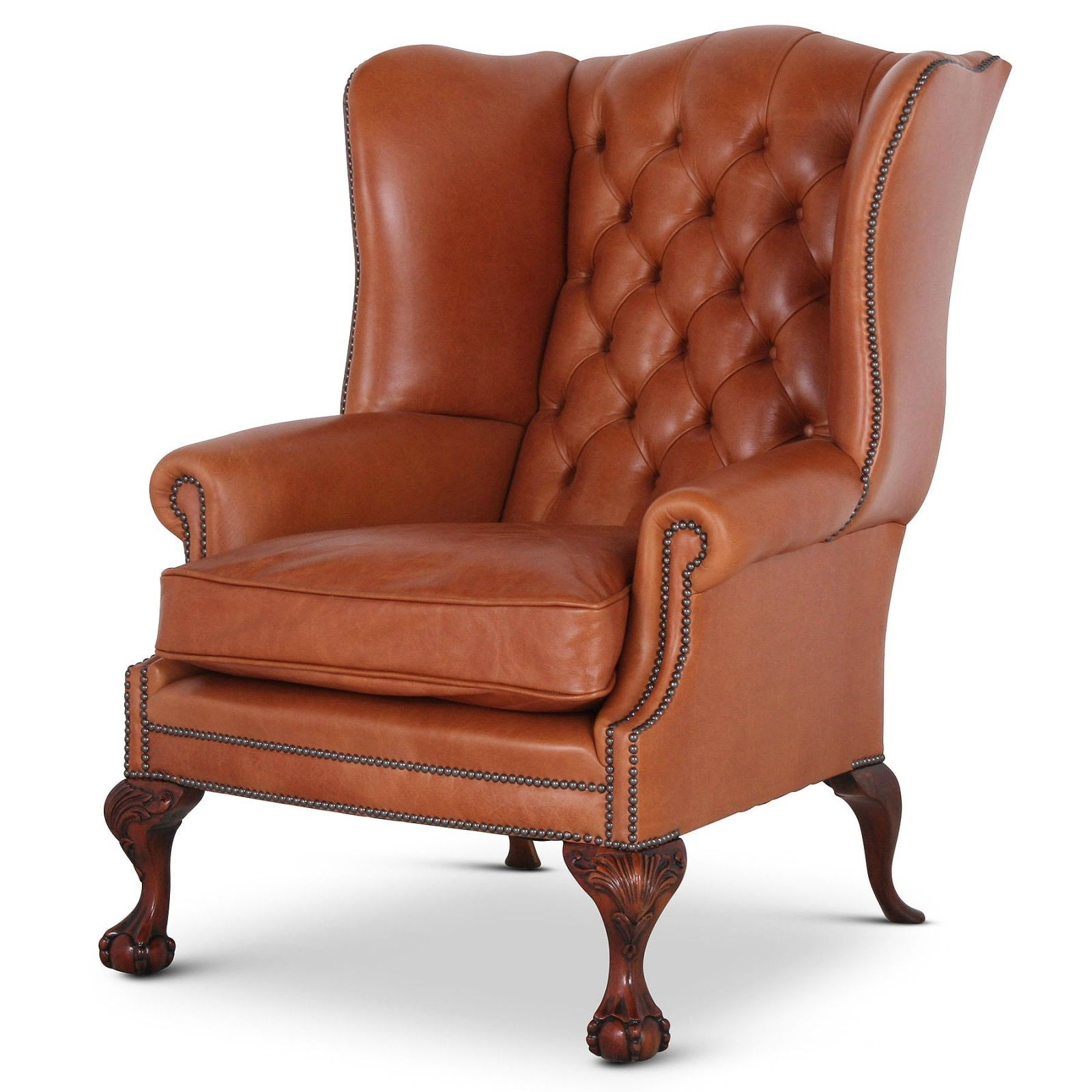Coleridge buttoned tan leather wing chair