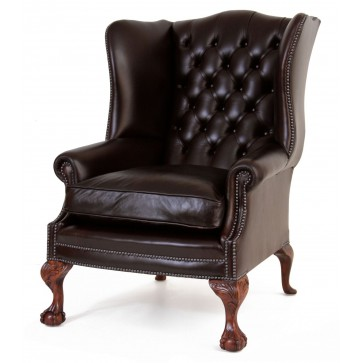 Coleridge buttoned wing chair in dark chocolate Heritage leather