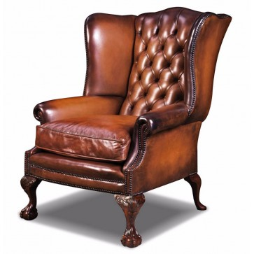 Coleridge buttoned wing chair in hand dyed hide
