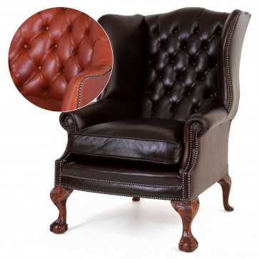 Coleridge buttoned wing chair in Heritage Tan leather