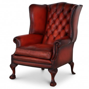 Coleridge buttoned wing chair in - Red hand dyed