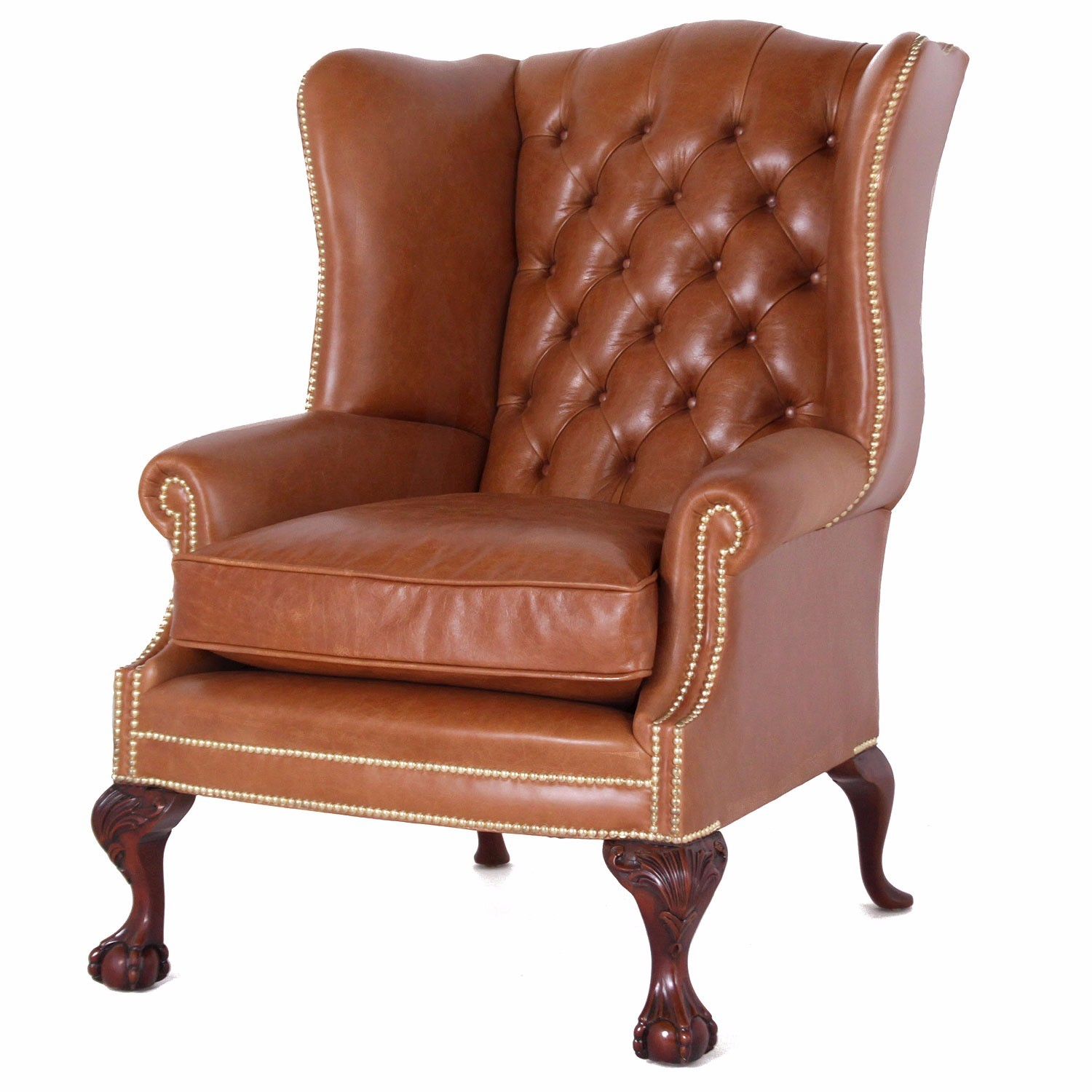 Coleridge buttoned wing chair in tan leather