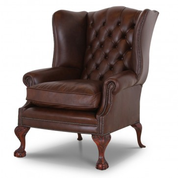 Coleridge leather wing chair in Antique Autumn Tan