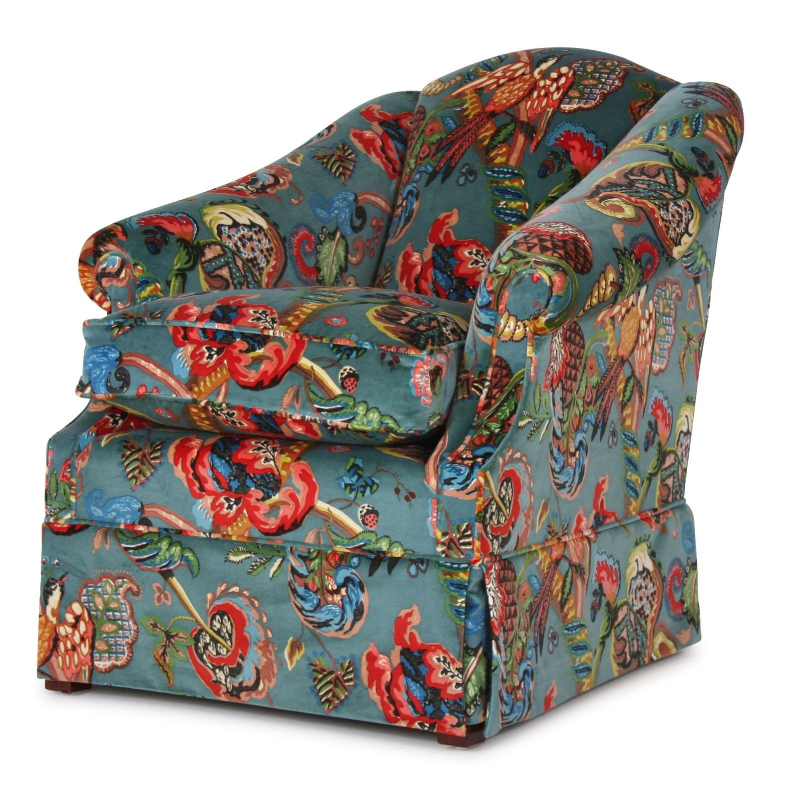 Coleridge low arm chair in Poppinjay velvet
