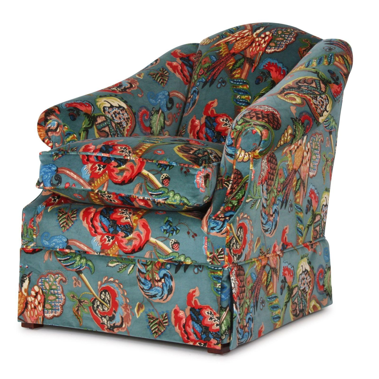 Coleridge Low Arm Chair In Poppinjay Velvet Fabric Chairs