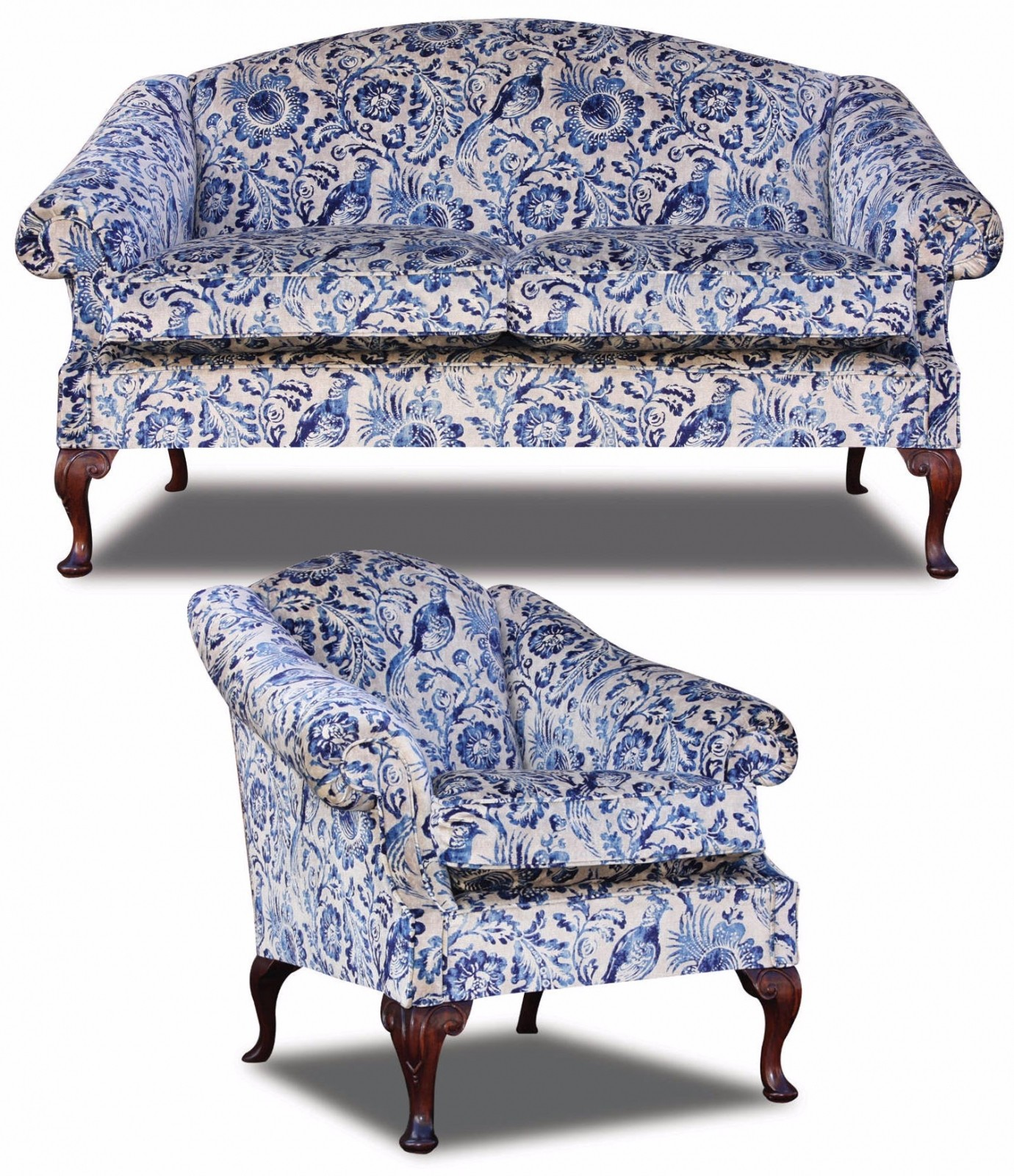 Coleridge Sofa And Chair In Antiqued Velvet Print Fabric