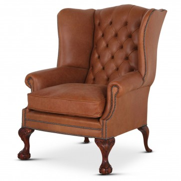 Coleridge traditional buttoned wing chair in Texas leather