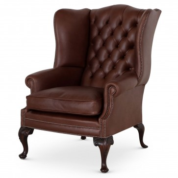 Coleridge traditional leather wing chair - Chocolate