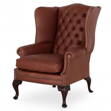 Coleridge traditional leather wing chair - Tan