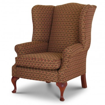 Coleridge wing chair in Jim Dickens Agra Wild Berry