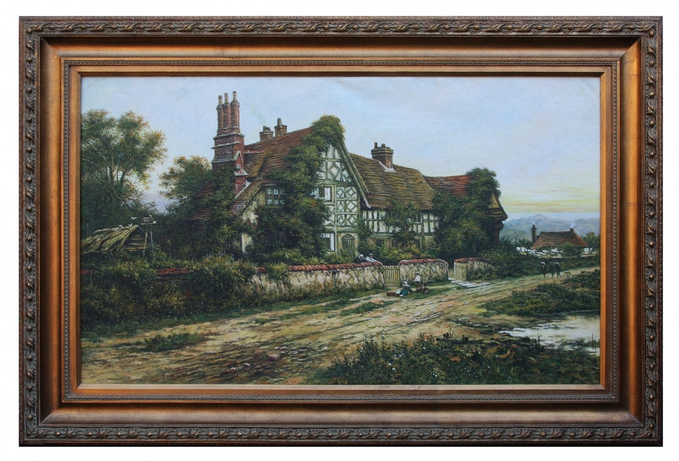 Country Manor House, framed oil painting