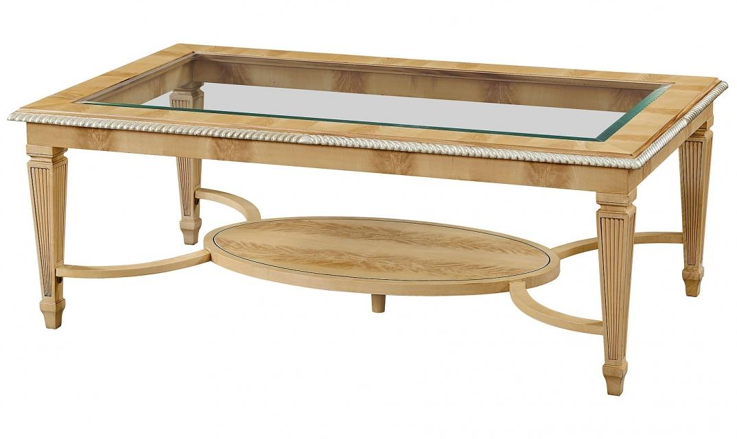 Crotch sycamore coffee table with glass top