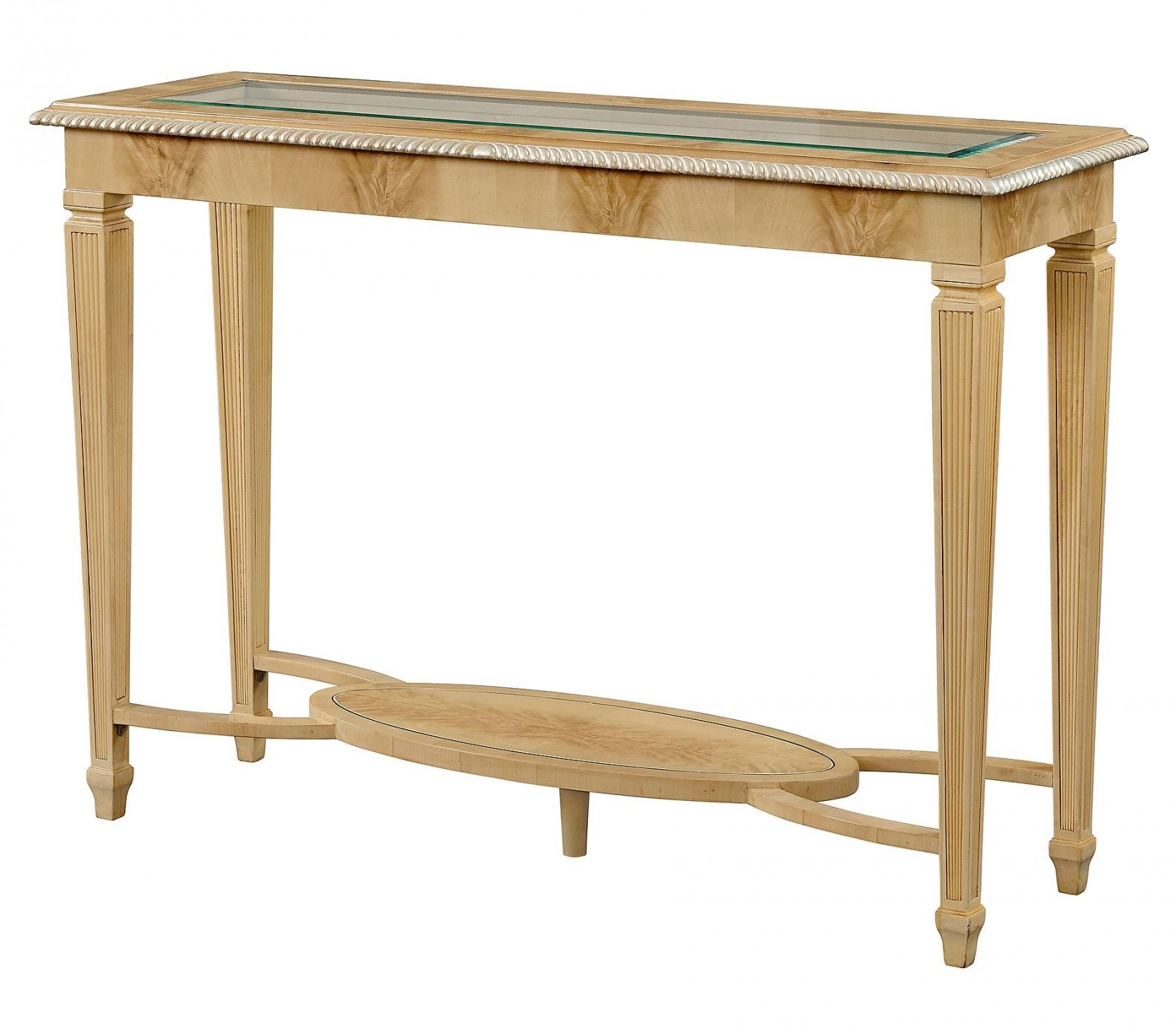 Crotch sycamore console table with glass top