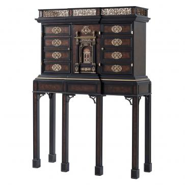 Dark mahogany Bar Cabinet with Detailed Brass Decoration