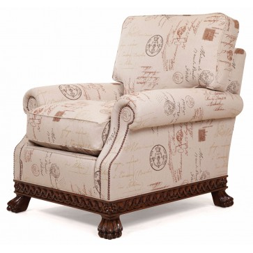 Dartington chair in a printed linen