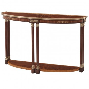 Demilune Mahogany and Etimoe Veneered Console Table with Mother of Pearl Inlay