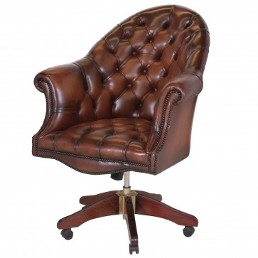 Directors swivel chair in hand dyed hide