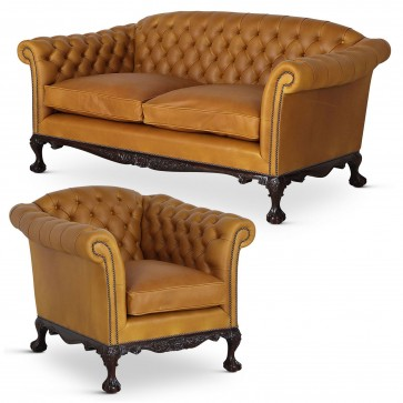 Dryden Howard and Sons style sofa and chair - Gold