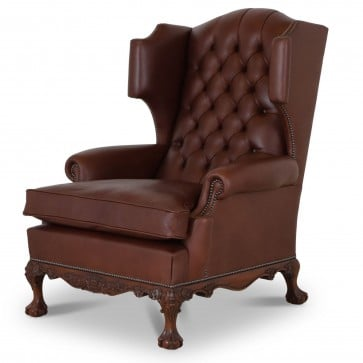 Dryden traditional buttoned leather wing chair - chocolate