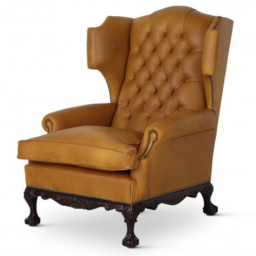 Dryden traditional buttoned leather wing chair - Gold