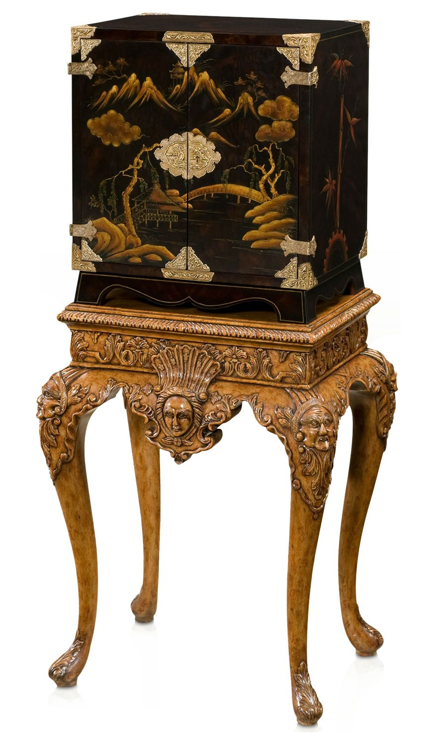 Early Georgian Inspired Black Lacquered Chinoiserie Bar or Drinks Cabinet