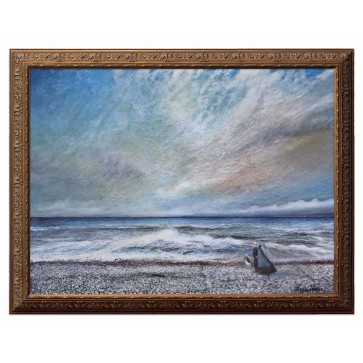 Early morning stroll on a pebble beach, original painting by British artist Roger Hann
