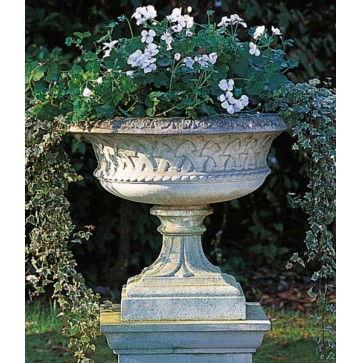 Eastwell stone urn on Queen Anne pedestal