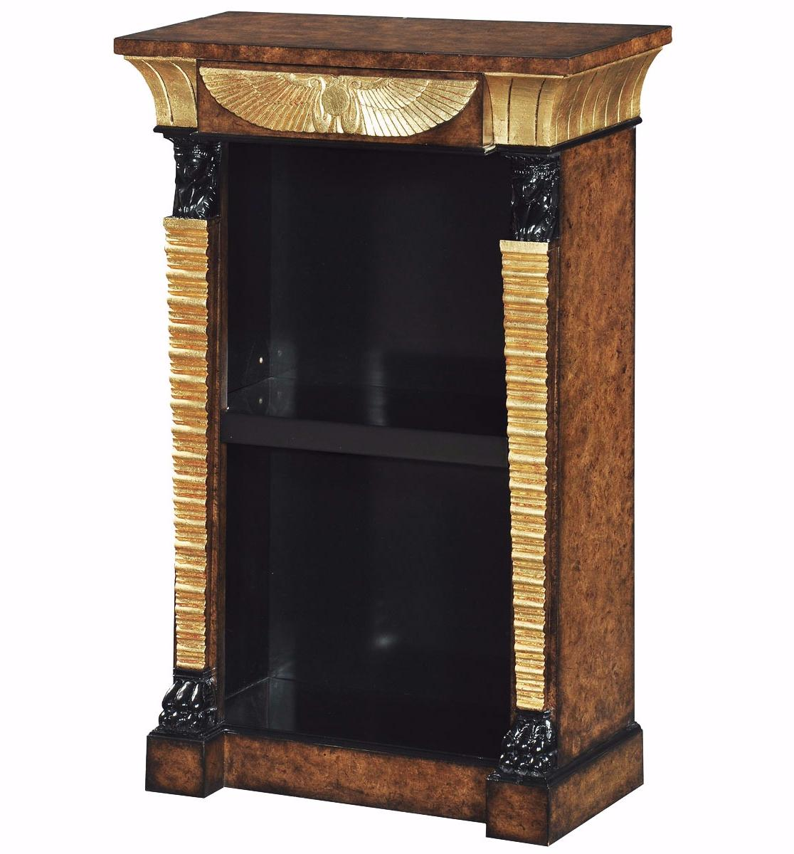 Ebonised and parcel gilt open bookcase