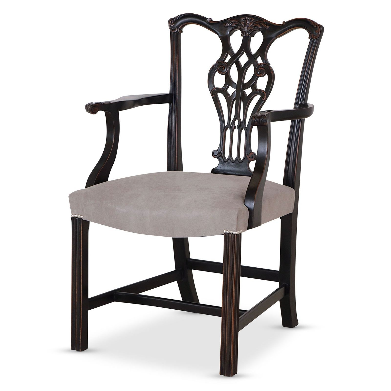 Ebonised Chippendale style dining armchair