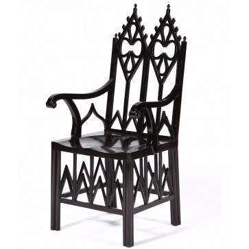 Ebonised Gothic style chair