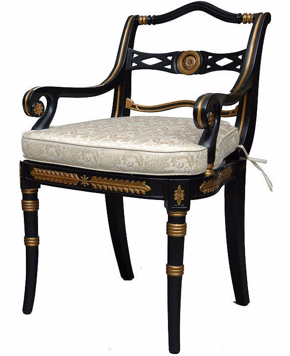 Ebonized and gilded dining arm chair