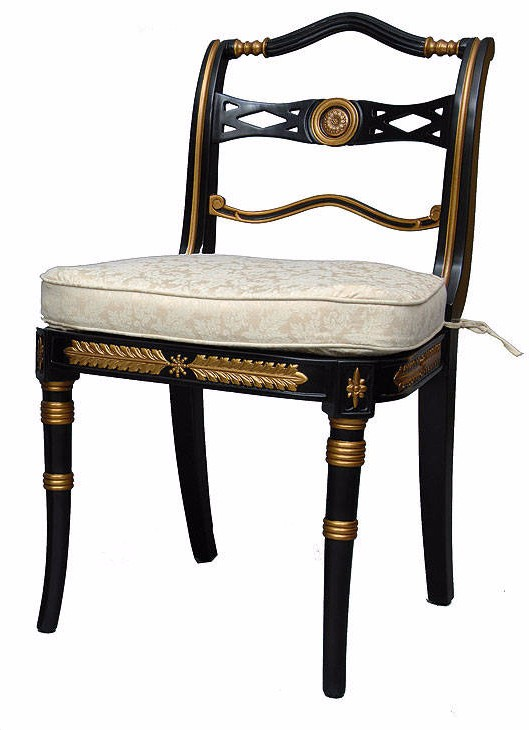 Ebonized and gilded dining side chair