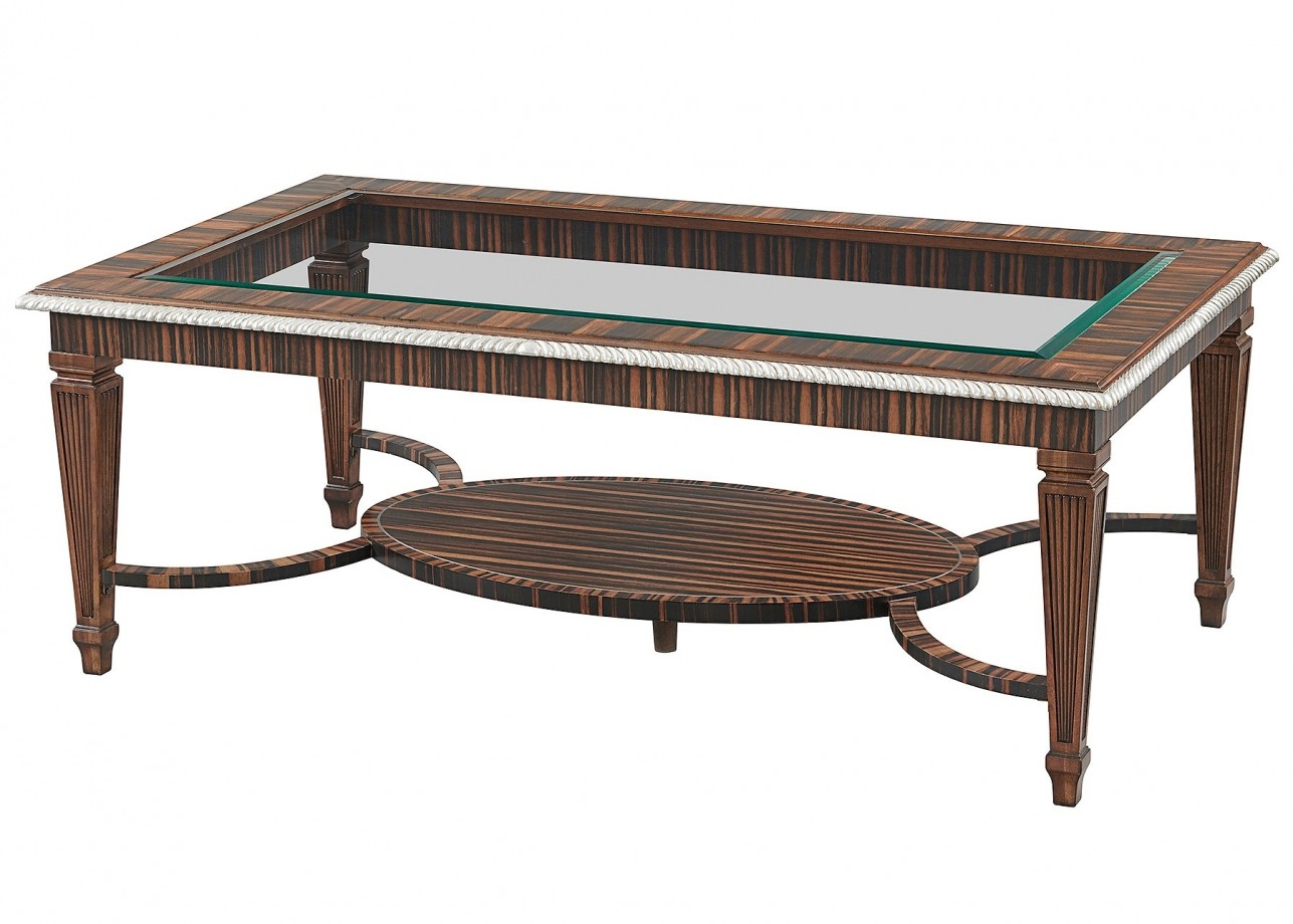 Ebony coffee table with glass top