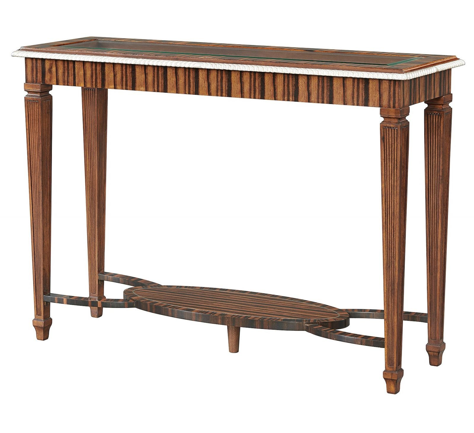 Ebony console table with glass top