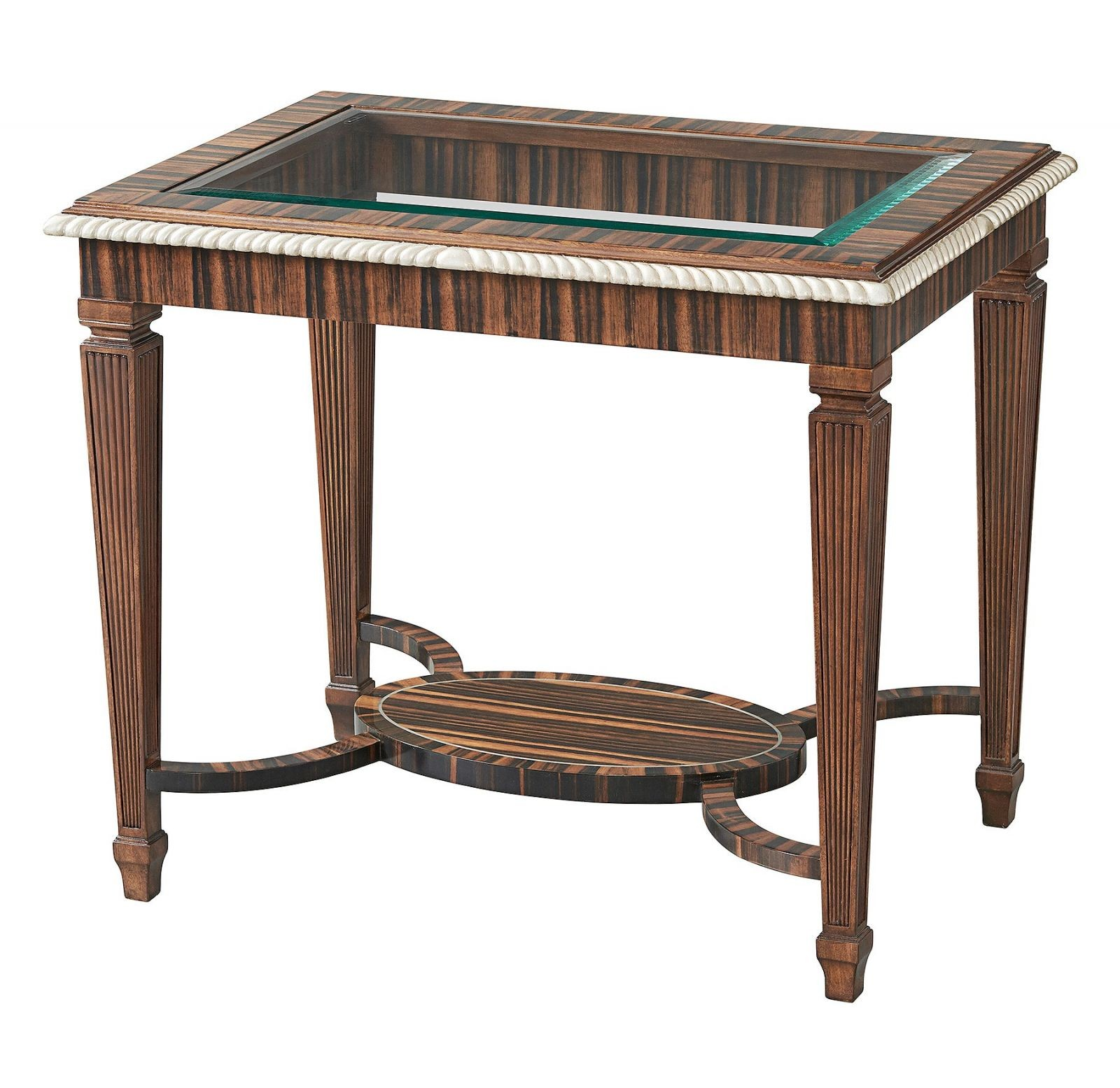 Ebony side or lamp table with glass top